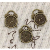 Metal Charm - ALARM CLOCK  Bronze 10 Pack