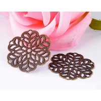 Metal Filigree Small FLOWER Bronze  Style #4 - 10Pk