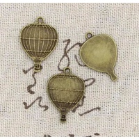 Metal Charm HOT AIR BALLOON Bronze 10PK