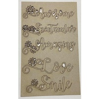 Memory Maze Chipboard - FLORAL WORDS #1
