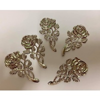 Metal Embellishment ROSE - SILVER - 10PK