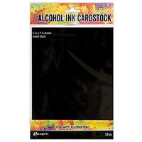 Tim Holtz Alcohol Ink Cardstock BLACK MATTE  - 10pc